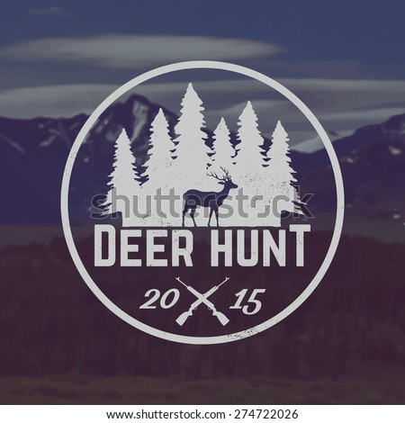 vector deer hunting emblem with grunge texture on mountain landscape background - stock vector