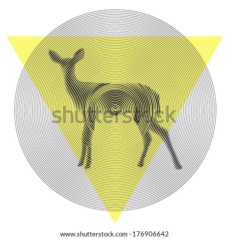 Vector deer in tiangle and circle - abstract illustration - stock vector