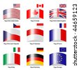 Vector deflected flags - stock photo