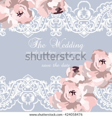 Vector Delicate Lace and peony flowers card. Vintage Wedding Invitation card. Delicate border of lace watercolor peonies flowers for wedding, greeting cards, Valentine's day. Serenity rose color - stock vector