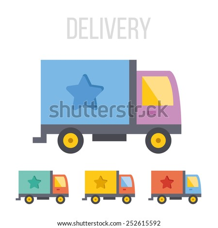 Vector delivery truck icons.  - stock vector
