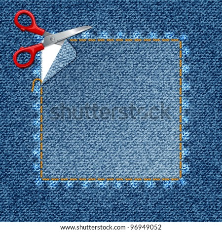 Vector denim background. Sticker the scissors cut jeans (eps10) - stock vector