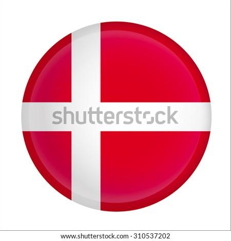 Vector - denmark Flag Glossy Button - stock vector