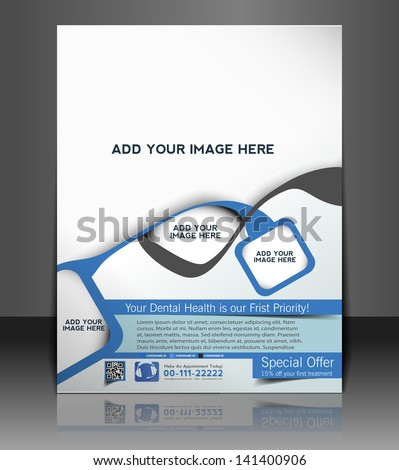 Vector dental brochure, flyer, magazine cover & poster template - stock vector