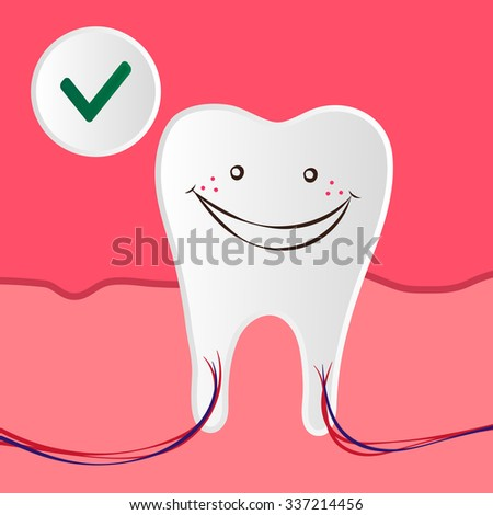 Vector Dental Care Illustration with a Healthy and Happy Tooth