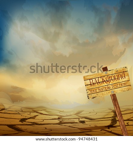 vector desert landscape with a wooden plaque - stock vector