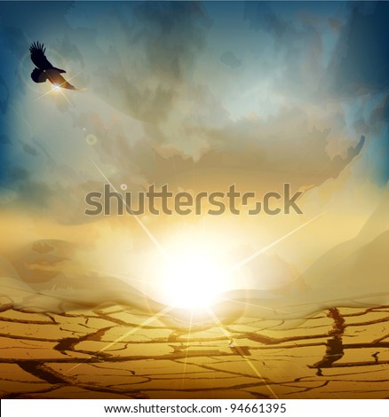 vector desert landscape with rising sun and an eagle flying high - stock vector