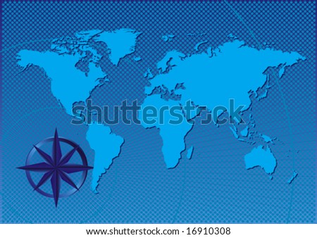 Vector design abstract of a compass on the world - stock vector