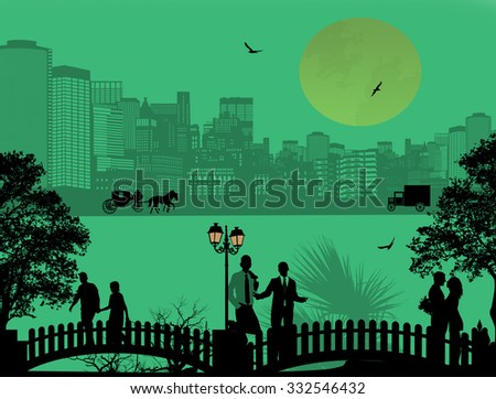Vector design background with beautiful cityscape and people silhouette on green