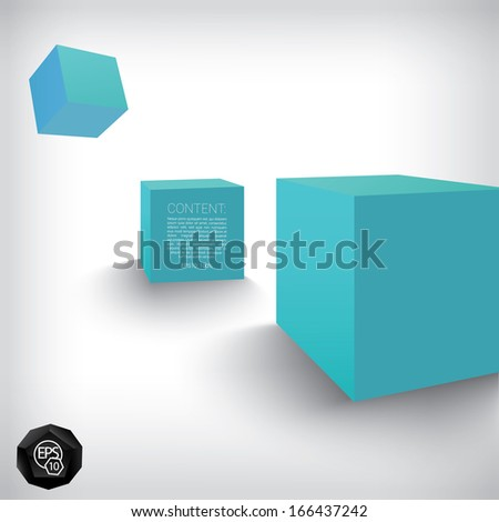 Vector design. Blue edition of a 3d abstract geometric scalable eps10 three element composition of playful cubes in a clean white space for infographics, webdesign or for brochure print illustration - stock vector