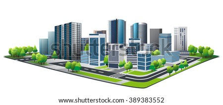 Vector Design - City and tree. Good health on green city. Design of lifestyle in metropolis concept, Urban cityscape. New town. - stock vector