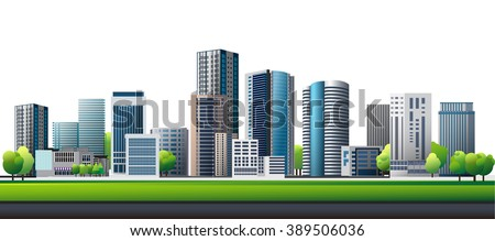 Vector Design - City and tree. Good health on green city. Design of lifestyle in metropolis concept, Urban cityscape. green town. - stock vector