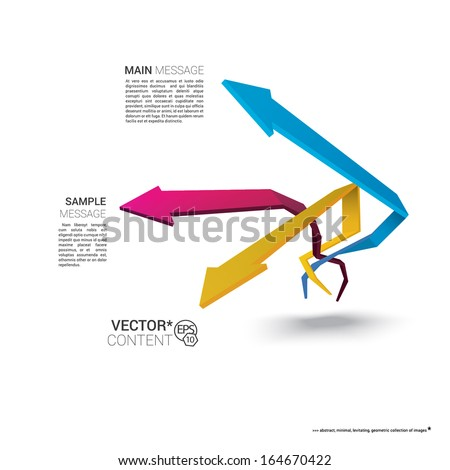 Vector design. CMYK edition of  scalable eps10 illustration of a geometric abstract levitating arrow composition in 3d space for destinations & infographics & web site & brochure or menu navigation - stock vector