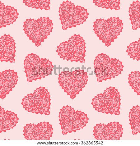vector design element, seamless pattern, heart, floral ornament, leaves, valentine's day, greetings, card, package, pink