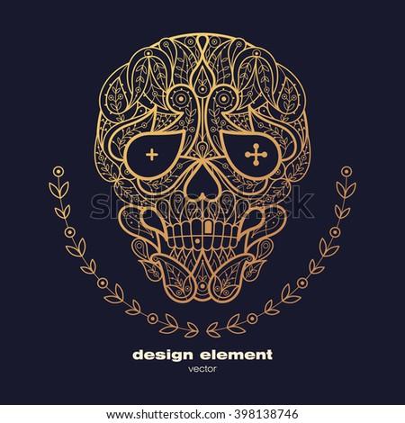 Vector design element - skull. Icon decorative skull isolated on black background. Modern decorative illustration. Template for creating logo, emblem, sign, poster. Concept of gold foil print. - stock vector