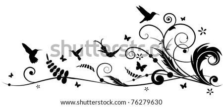 vector design element with hummingbird and butterflies - stock vector
