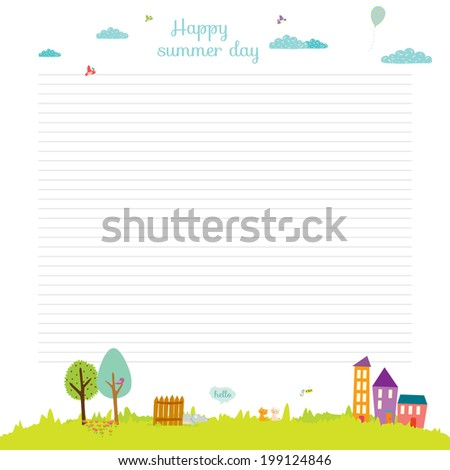 Vector design elements for notebook, diary, organizer and other school template design. Cute and cartoon illustration note papers, ready for your message. Summer, spring, sun, flower, sea, beach. - stock vector