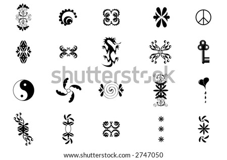Vector design elements,including  ying-yang, peace sign and many more,black over a white background.