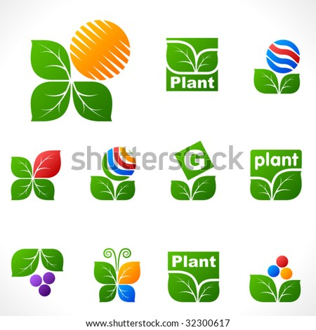 Vector design elements. Leafs set. - stock vector