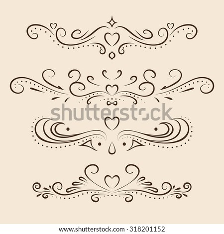 Vector design elements set. Calligraphic dividers for Valentine's day. Page decor. - stock vector