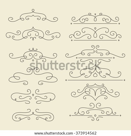 Vector design elements set. Linear style dividers for page decor. - stock vector