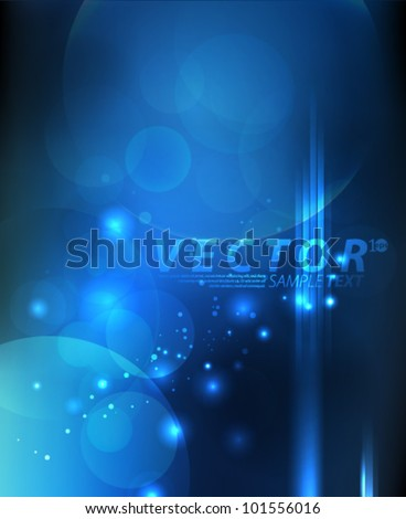 Vector Design - eps10 Abstract Blue Lights Concept Background - stock vector