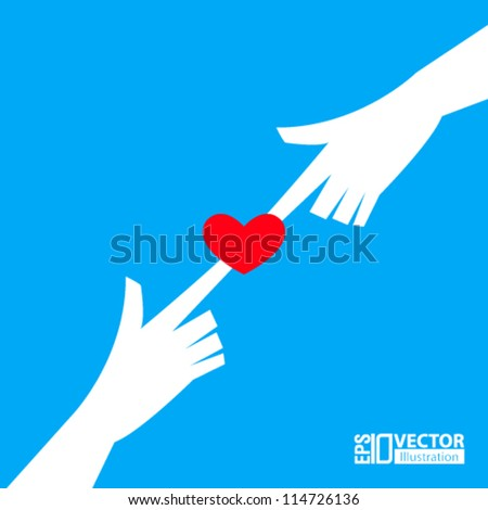 vector design- eps10 abstract heart with hands on blue background - stock vector