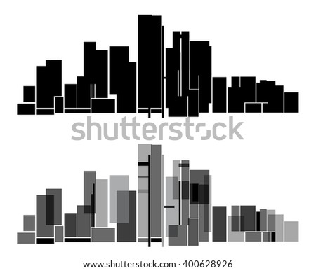 Vector Design - EPS10 Building and City Illustration, Abstract City scene black style, City skyline silhouette with reflection on night - stock vector