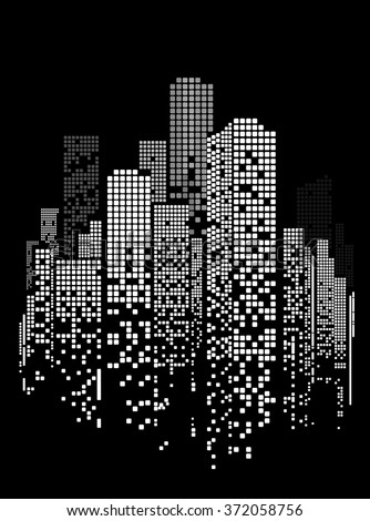 Vector Design - EPS10 Building and City Illustration at night, City scene on night time, Night cityscape. Black background. - stock vector