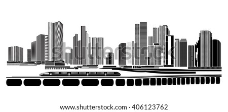 Vector Design - EPS10 Building and City Illustration at night, Modern town and transportation. - stock vector
