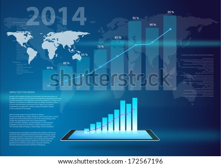 Vector Design - eps10 Business graph show Growth of business on 2014  and  communication technology concept, graph business - stock vector