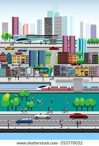 Vector Design - Eps10 City lifestyle, City Life, Design Lifestyle in Metropolis Concept, Urban cityscape, Overview of Cityscape - stock vector