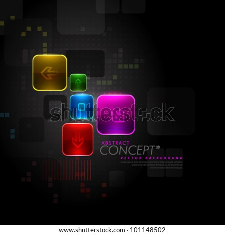Vector Design - eps10 Glowing Arrow Signs Concept Illustration - stock vector