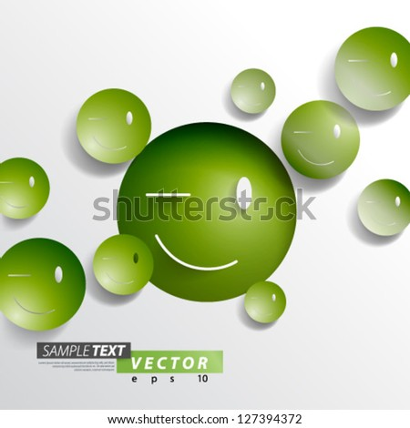 Vector Design - eps10 Overlapping Smiley's Concept Background - stock vector