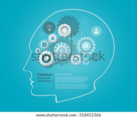 Vector Design - Eps10 Vector Design infographic Template of Brain, Thinking and Process concept, Human head and gear - stock vector