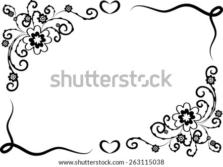 Vector design flowers border black white stock vector 263115038 vector design flowers with border in black and white mightylinksfo