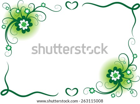 vector design flowers with border in green