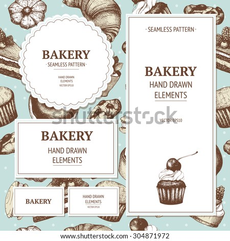Vector design for bakery or baking shop with hand drawn bread illustration. Vintage bakery sketch background. - stock vector