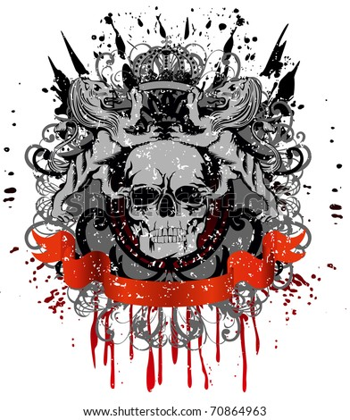 Vector design for  T-short  skull with two heraldic lions holding  crown