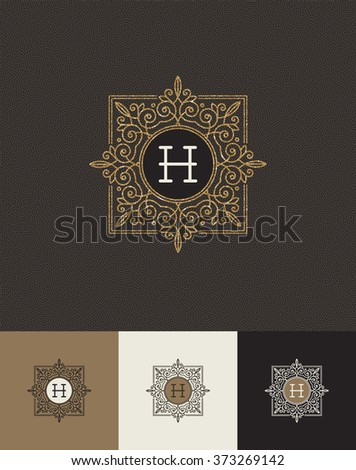 Vector design - glitter gold monograms - stock vector