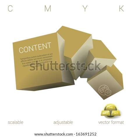 Vector design. Gold edition of a scalable adjustable eps10  3d abstract geometric composition of four, three dimensional squares in empty space as a web design & brochure element for universal use  - stock vector