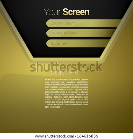 Vector design. Gold & shiny & yellow abstract composition edition of a scalable futuristic minimal software 3d navigation layout simple menu for printing & web & mobile application & universal use  - stock vector