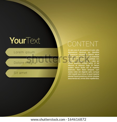 Vector design. Gold - yellow rounded composition edit of a scalable futuristic minimal software 3d navigation layout design simple menu for printing & web & for mobile application and universal use  - stock vector