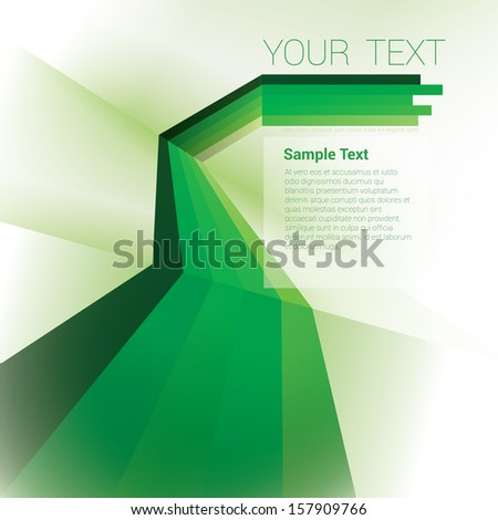 Vector design. Green edition of a scalable abstract geometric background with trendy retro stripes and the sense of 3d with menu and text field as a layout for a brochure or web, for universal use  - stock vector