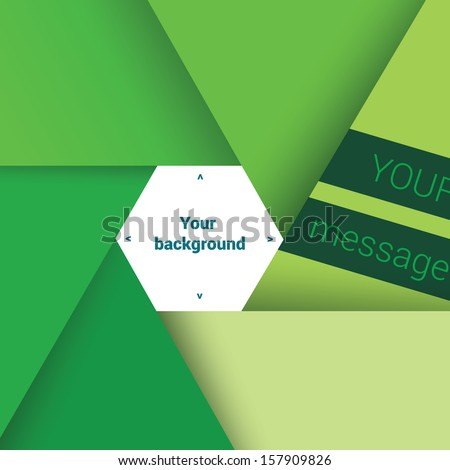 Vector design. Green edition of a scalable eps10 hexagon framed text box with custom/adjustable background element for web, print, brochure, presentation base template or for infographics. - stock vector
