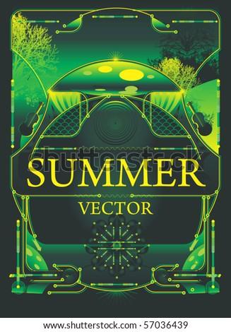 vector design,high tech meets freshness of green nature - stock vector