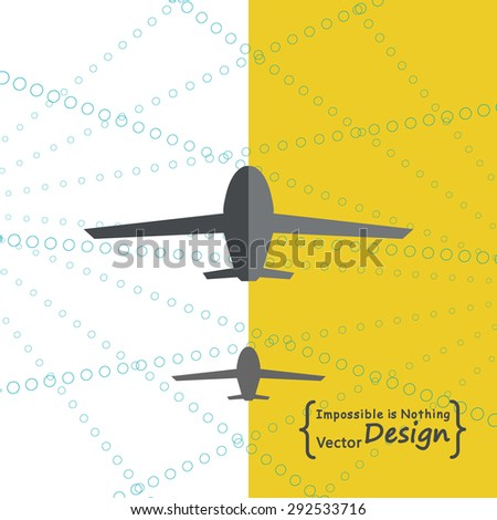 Vector design illustration of two airplanes on the abstract background. For business templates, pamphlets, presentations, annual reports on travel industry - stock vector