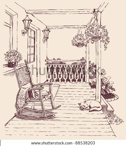 Vector design. Ink drawing comfortable rocking chairs on the veranda of a comfortable home surrounded by flowers - stock vector