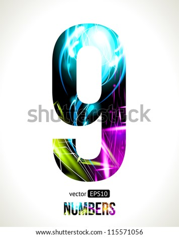 Vector design light effect alphabet. Easy customizable. Number 9. - stock vector