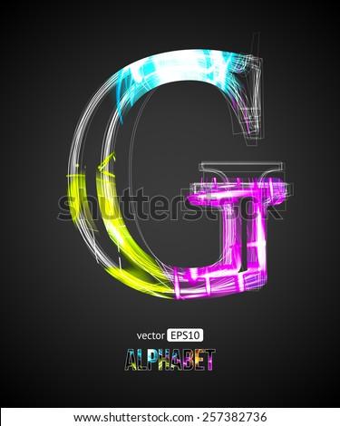 Vector Design Light Effect Alphabet. Letter G on a Black Background. - stock vector